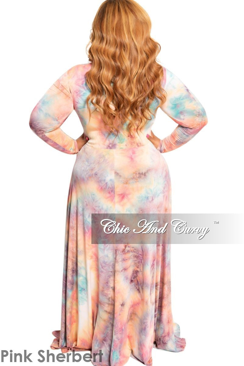 New Plus Size V-Neck Gown in Pink Sherbet