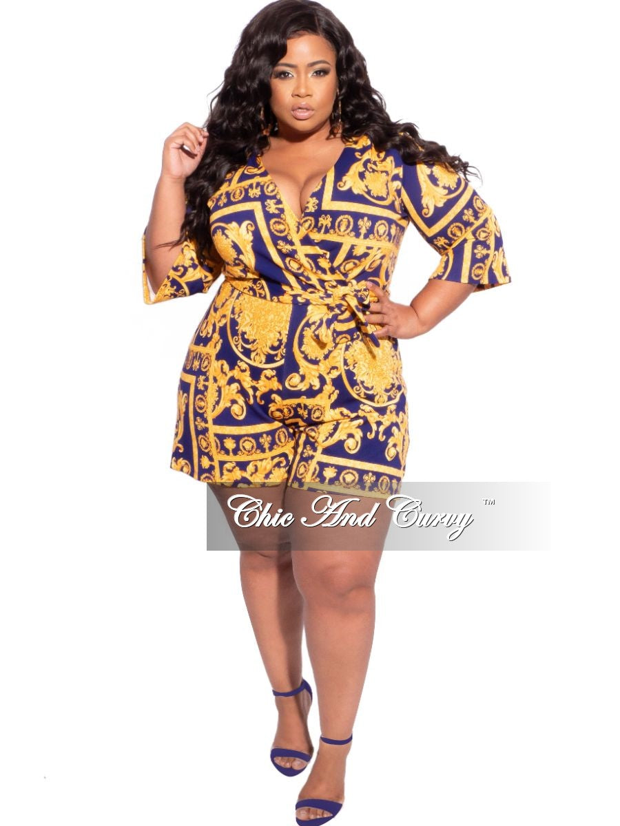 New Plus Size Faux Wrap 3/4 Sleeve Romper in Royal Blue & Mustard Print