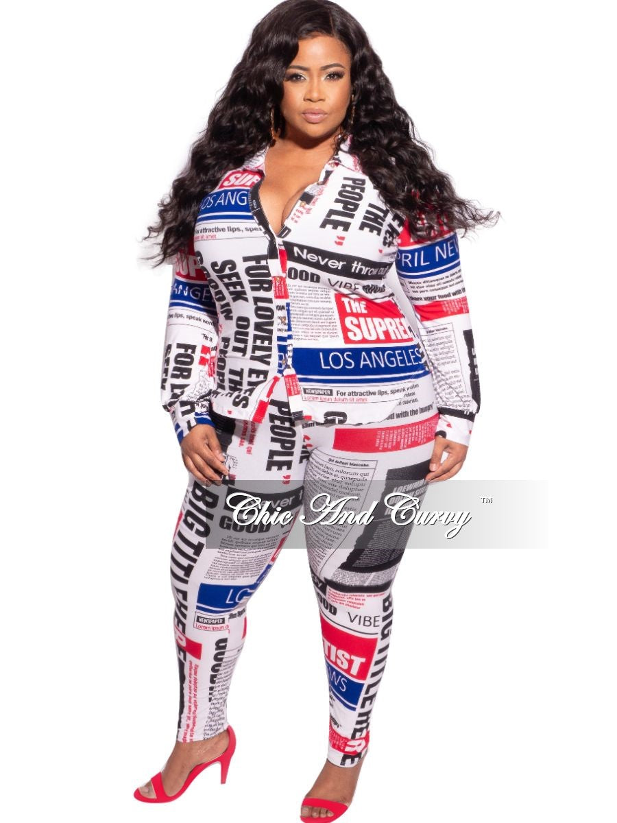Final Sale Plus Size 2-Piece Collared Button Top and Pants Set in Red, White, & Blue Print