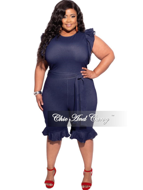 New Plus Size Capped Flutter Sleeve Tie Romper in Faux Denim