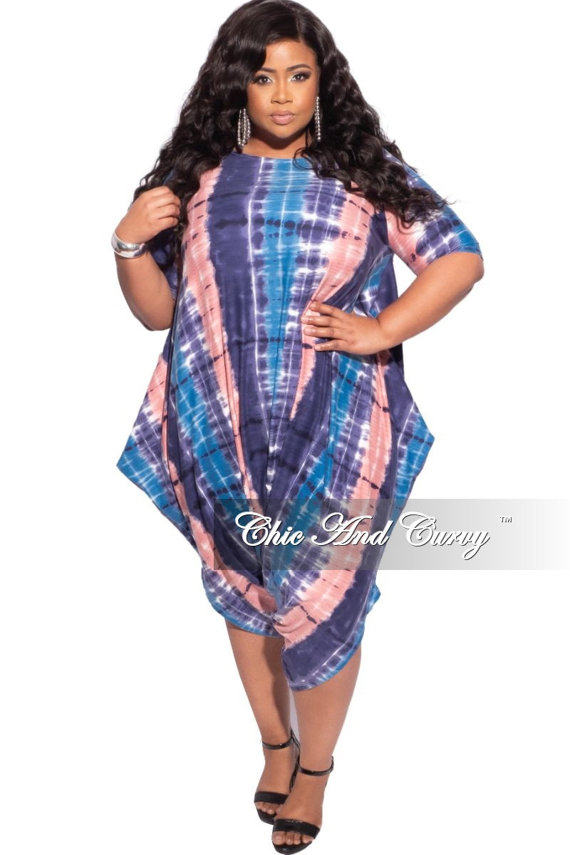 New Plus Size Harem Capri Romper in Multi-Color Tie Dye Print