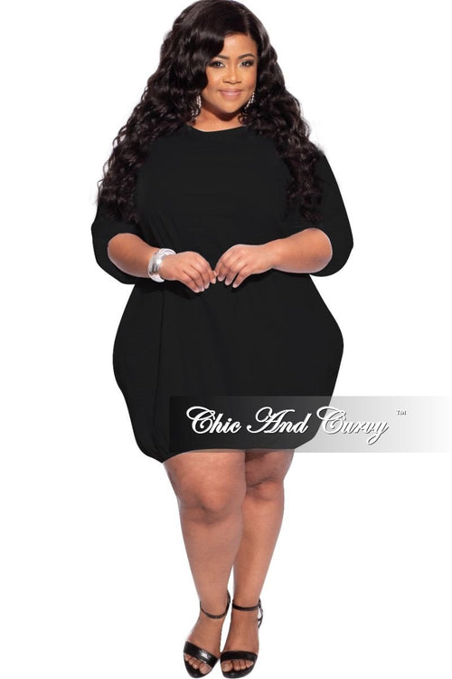 New Plus Size Bubble Poplin Dress in Black