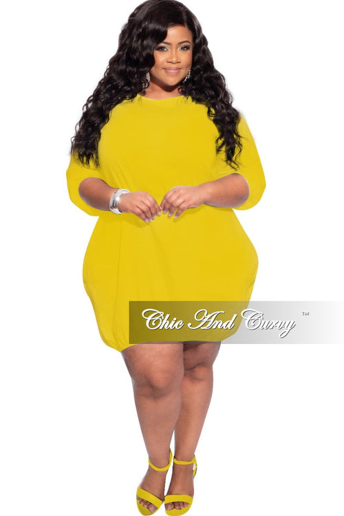 New Plus Size Bubble Poplin Dress in Mustard