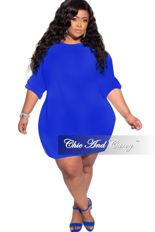New Plus Size Bubble Poplin Dress in Royal Blue