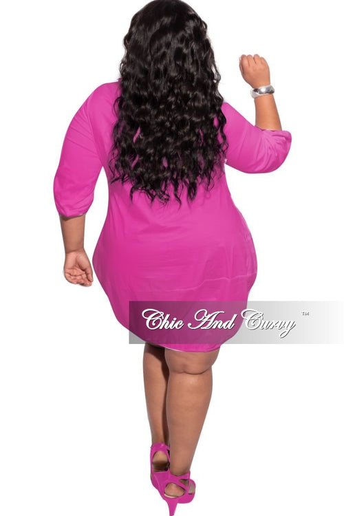 New Plus Size Bubble Poplin Dress in Fuchsia