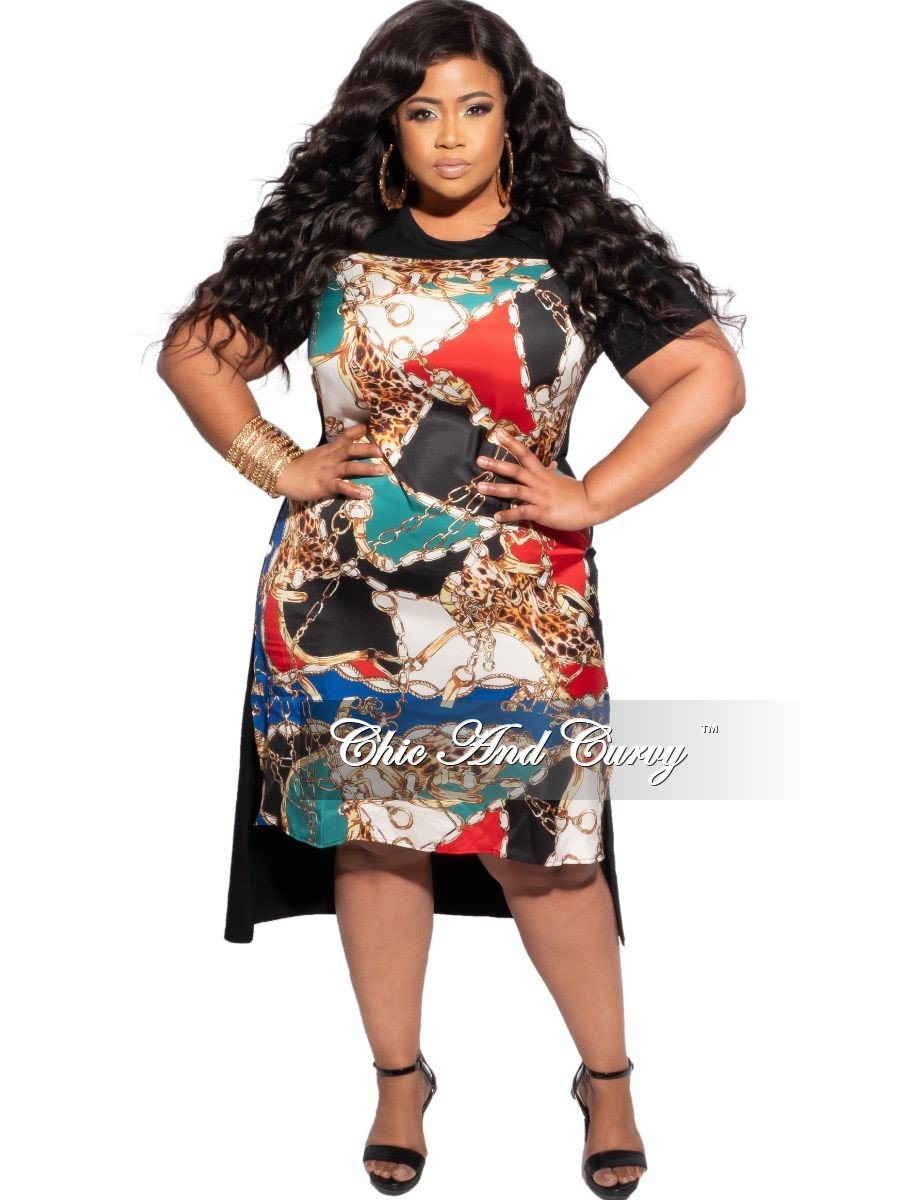 New Plus Size Abstract Satin Front Solid Jersey Back High Low Dress in Black