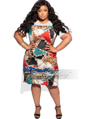Final Sale Plus Size  Zip-Up Dress with Attached Tie in Blue Red and Green Snake Skin Print