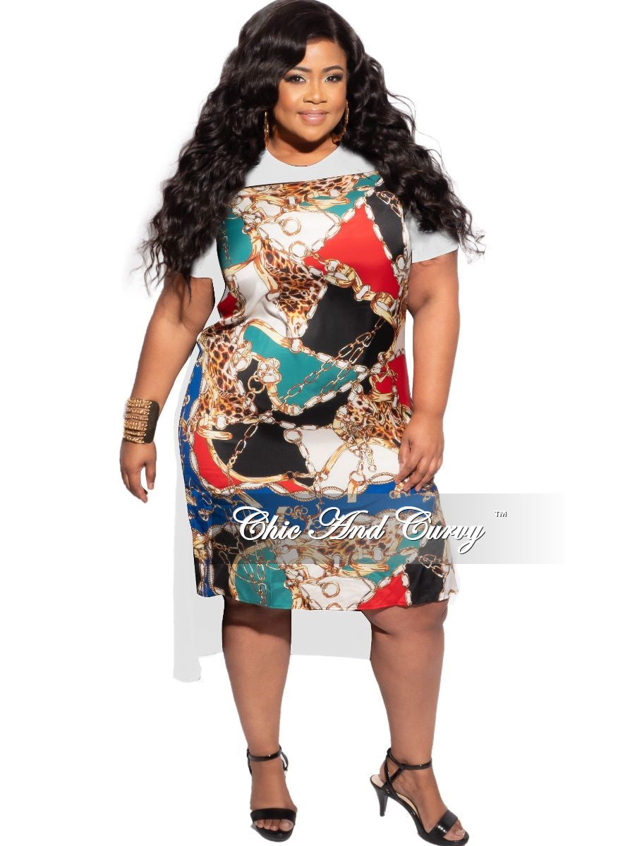 Final Plus Size Abstract Satin Front Solid Jersey Back High Low Dress in White