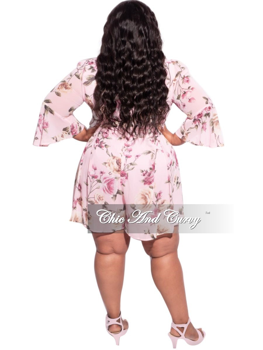New Plus Size Chiffon Faux Wrap Bell Sleeve Romper in Pink Floral Print