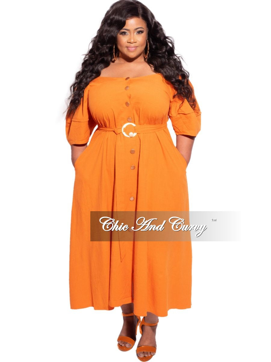 New Plus Size Off the Shoulder Dress in Orange