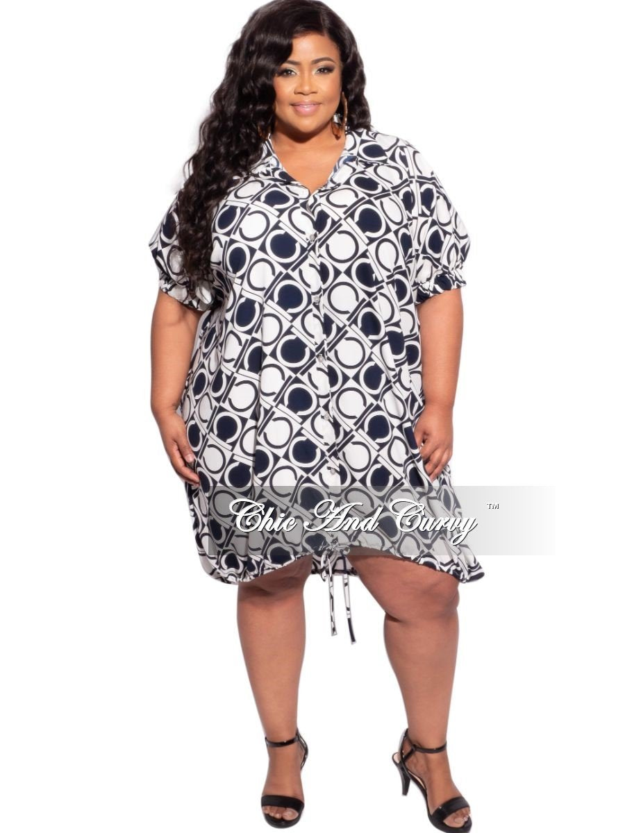 Final Sale Plus Size Button Tie Balloon Dress in Navy & Off White Initial Geometric Print