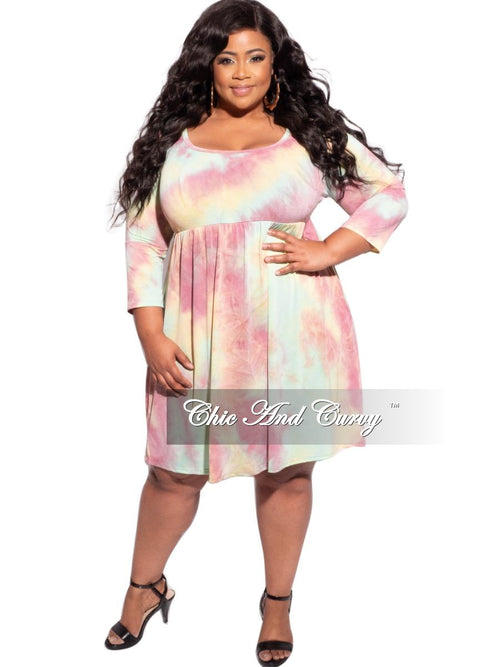 Final Sale Plus Size Pocket Baby Doll Dress in Pink/Yellow Tie Dye Print