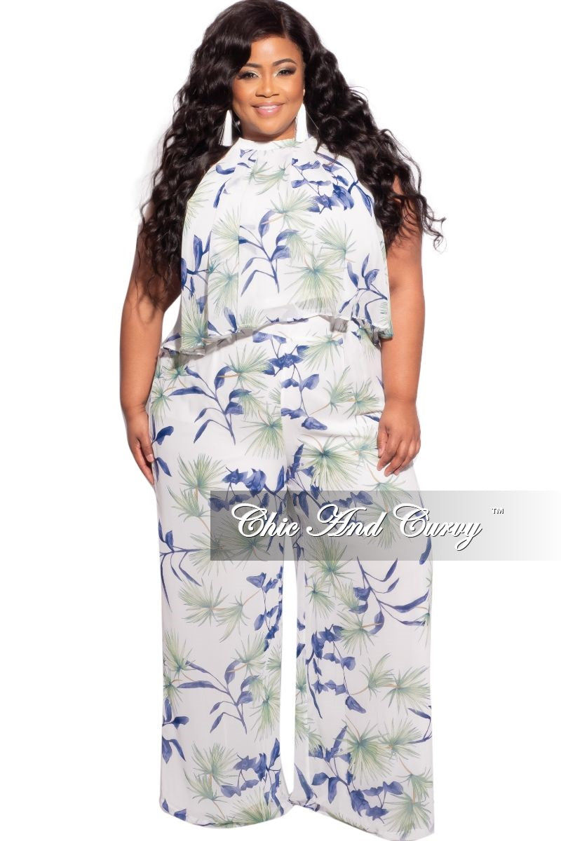 Final Sale Plus Size Chiffon Halter Top and Pants Set in Off White, Blue & Green Print