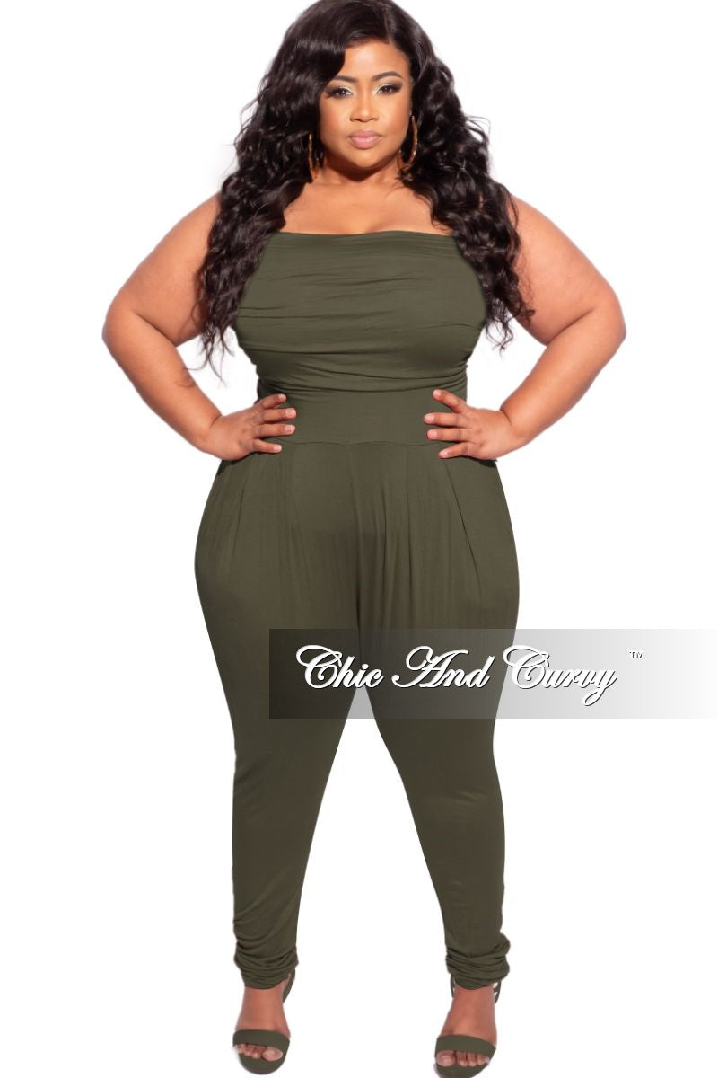 New Plus Size Tube Top Jumpsuit in Olive