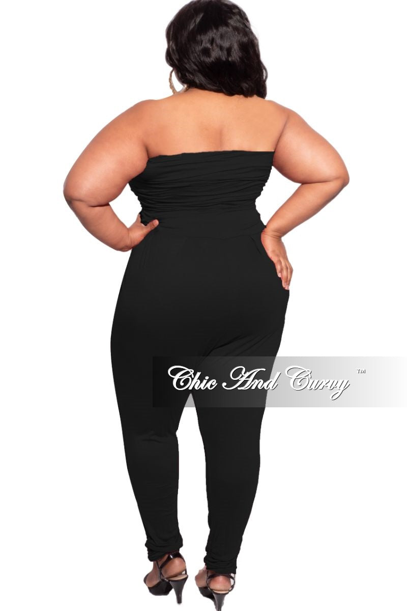 New Plus Size Tube Top Jumpsuit in Black