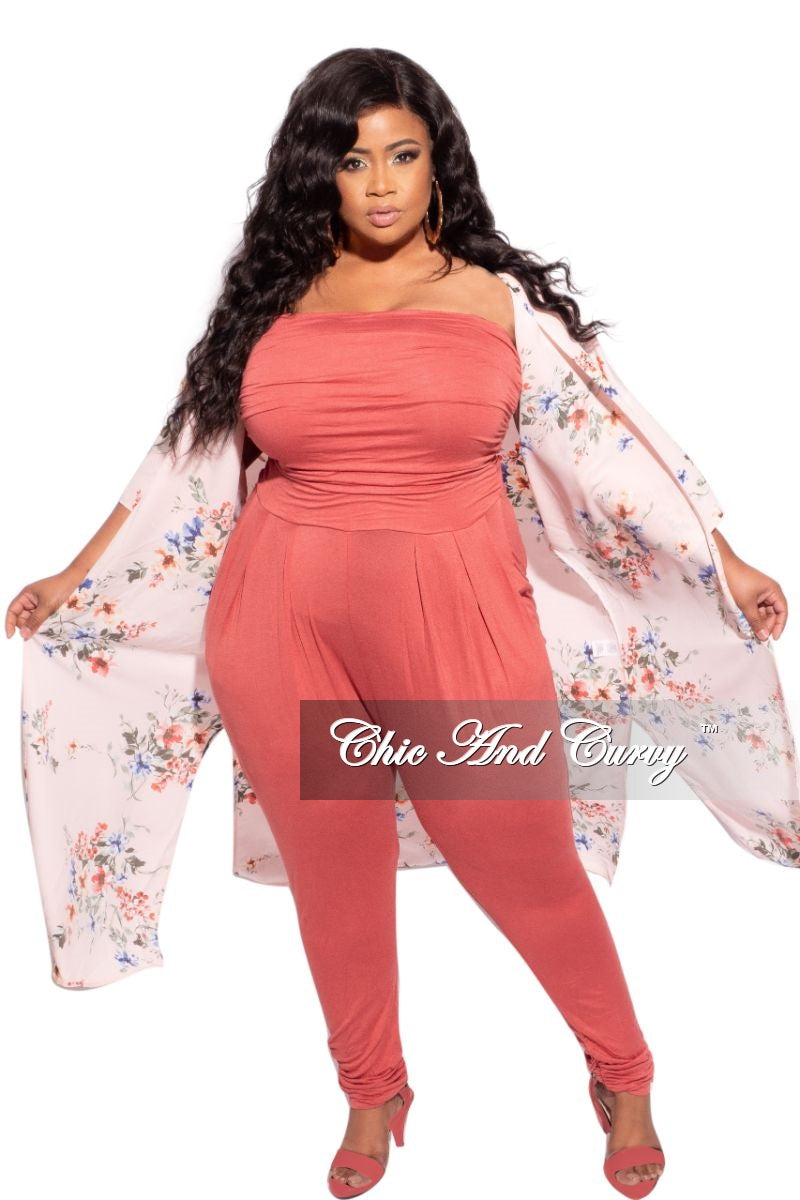 New Plus Size 3/4 Sleeve Duster with Light Pink Background and Multicolor Floral Print