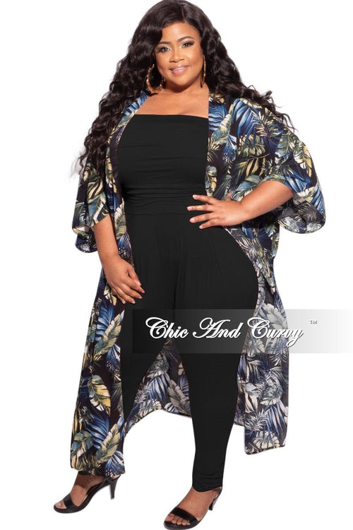 Final Sale Plus Size 3/4 Sleeve Duster in Black/Olive Multi-Color Floral