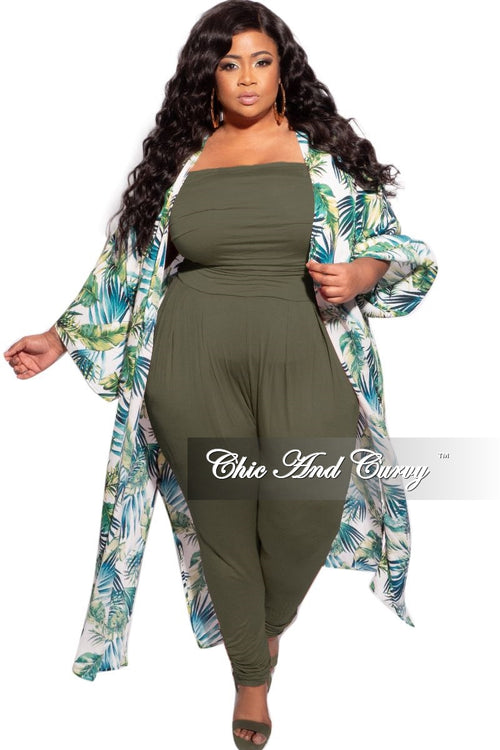 Final Sale Plus Size 3/4 Sleeve Duster in White/Blue Multicolor Floral