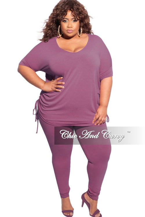 New Plus Size 2-Piece Drawstring Top and Legging Set in Eggplant