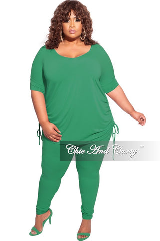 Final Sale Plus Size Faux Wrap Jumpsuit with Slit Sleeves and Attached Tie in Mauve Green and Olive Print