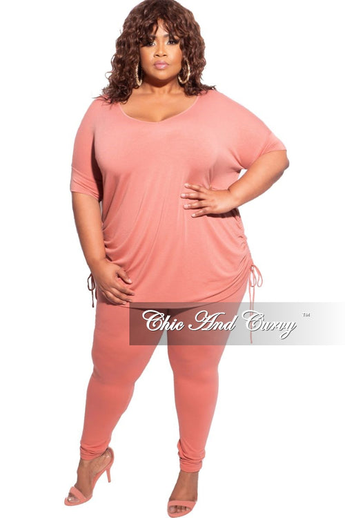 New Plus Size 2-Piece Drawstring Top and Legging Set in Rose