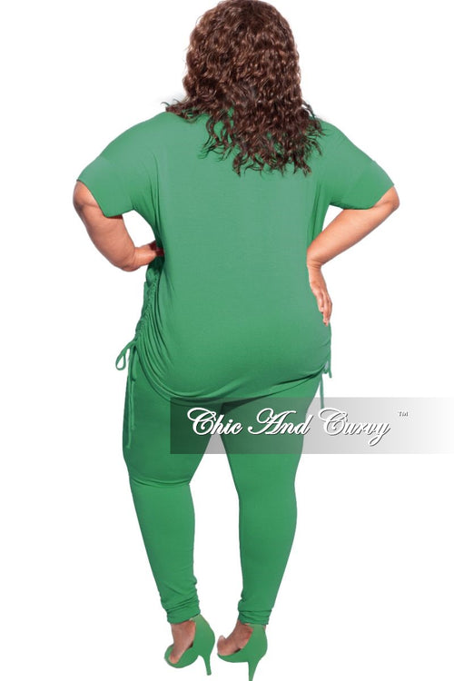 New Plus Size 2-Piece Drawstring Top and Legging Set in Green