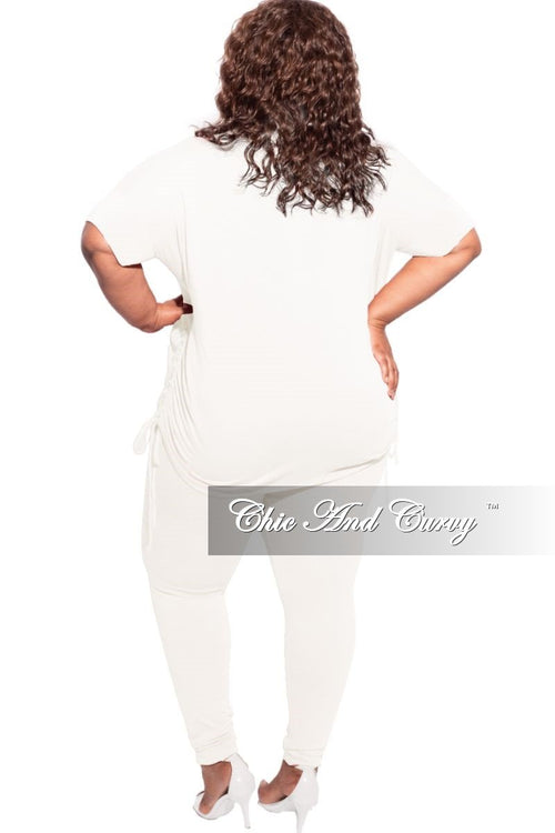 Final Sale Plus Size 2-Piece Drawstring Top and Legging Set in Ivory