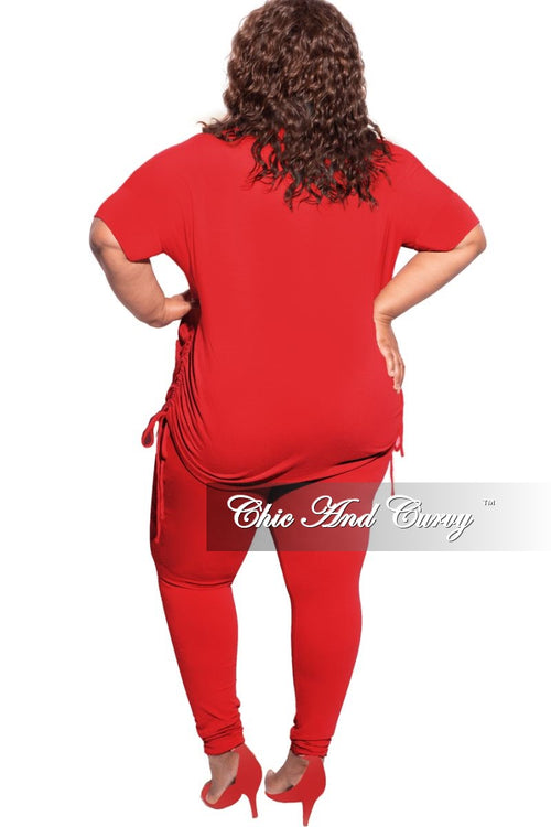 New Plus Size 2-Piece Drawstring Top and Legging Set in Dark Red