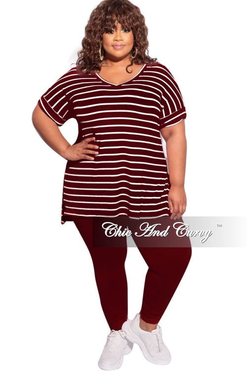 New Plus Size 2-Piece Striped Top and Solid Legging Set in Burgundy & Ivory Stripe