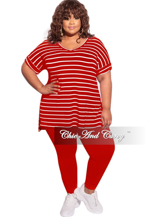 New Plus Size 2-Piece Striped Top and Solid Legging Set in Red/Ivory & Red
