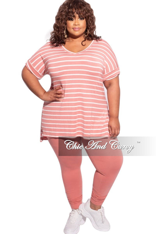 New Plus Size 2-Piece Striped Top and Solid Legging Set in Rose/Ivory & Rose