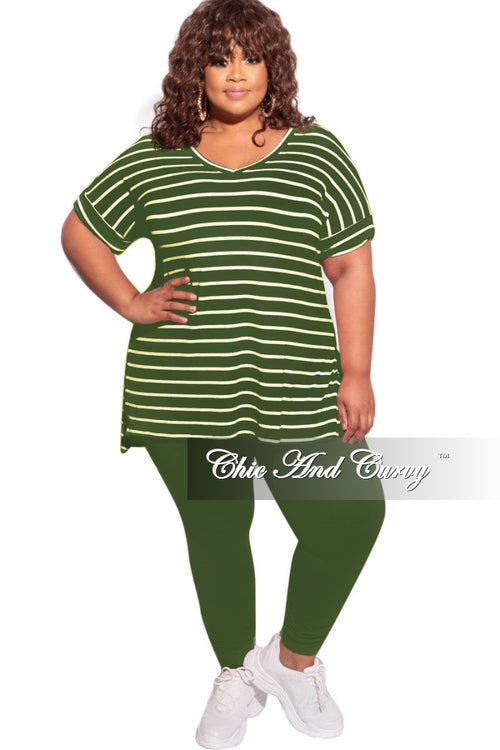 New Plus Size 2-Piece Striped Top and Solid Legging Set in Army Green & Ivory Stripe