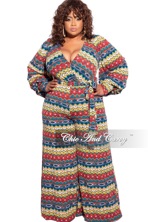New Plus Size Faux Wrap Bishop Sleeve Palazzo Jumpsuit in Multicolor Design Print