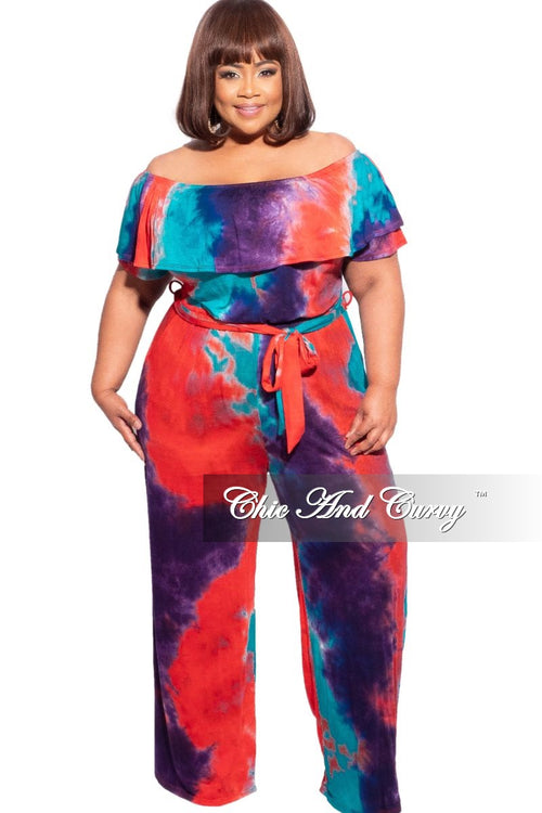 New Plus Size Off the Shoulder Ruffle Wide Leg Belted Jumpsuit in Multicolor Tie Dye