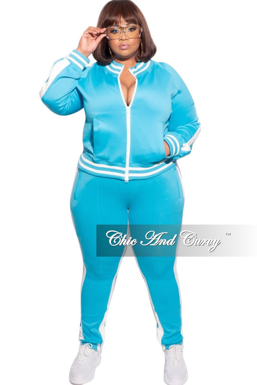 Final Sale Plus Size 2-Piece Split Shoulder Jacket and Pants Set in Aqua/White Stripe