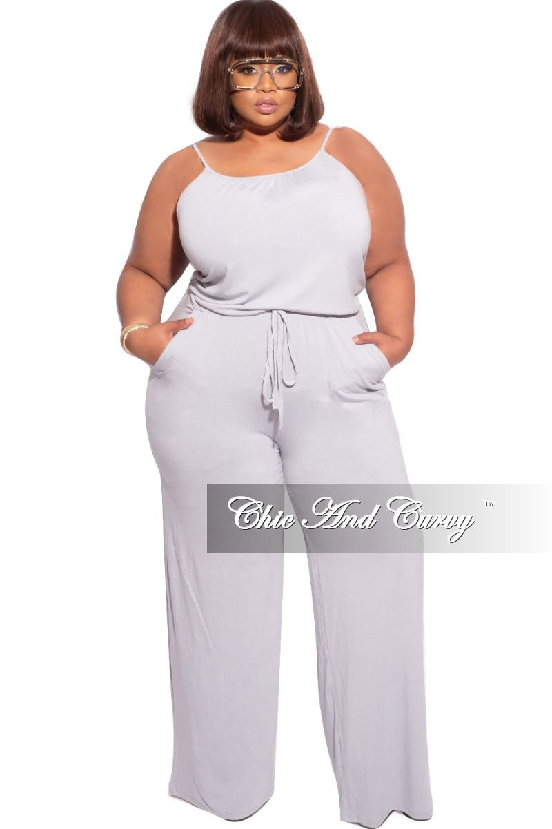New Plus Size Spaghetti Strap Jumpsuit with Pockets in Light Grey