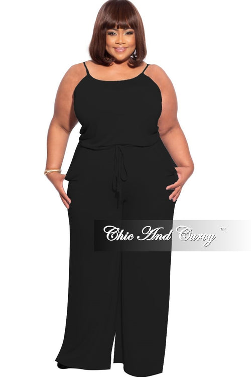 New Plus Size Spaghetti Strap Jumpsuit with Pockets in Black