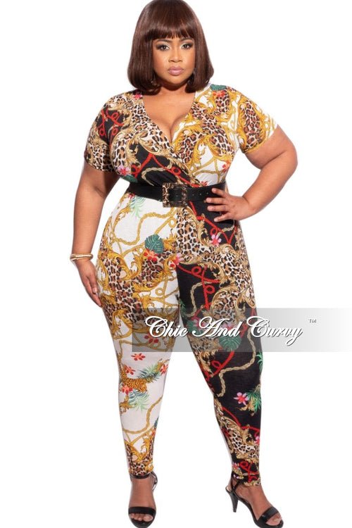 New Plus Size Faux Wrap Jumpsuit in Animal and Chain Multicolor Print