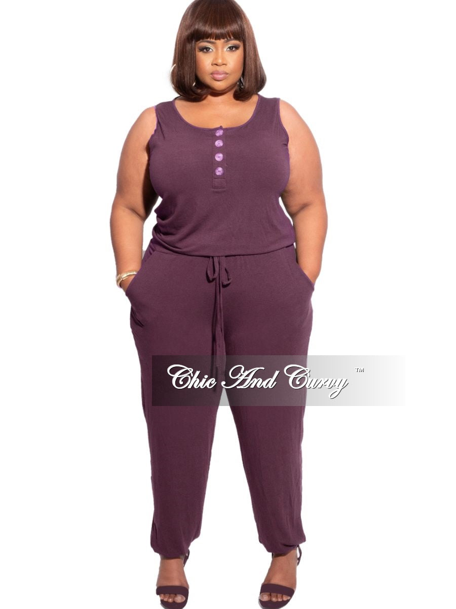 New Plus Size Sleeveless Jogger Jumpsuit in Eggplant