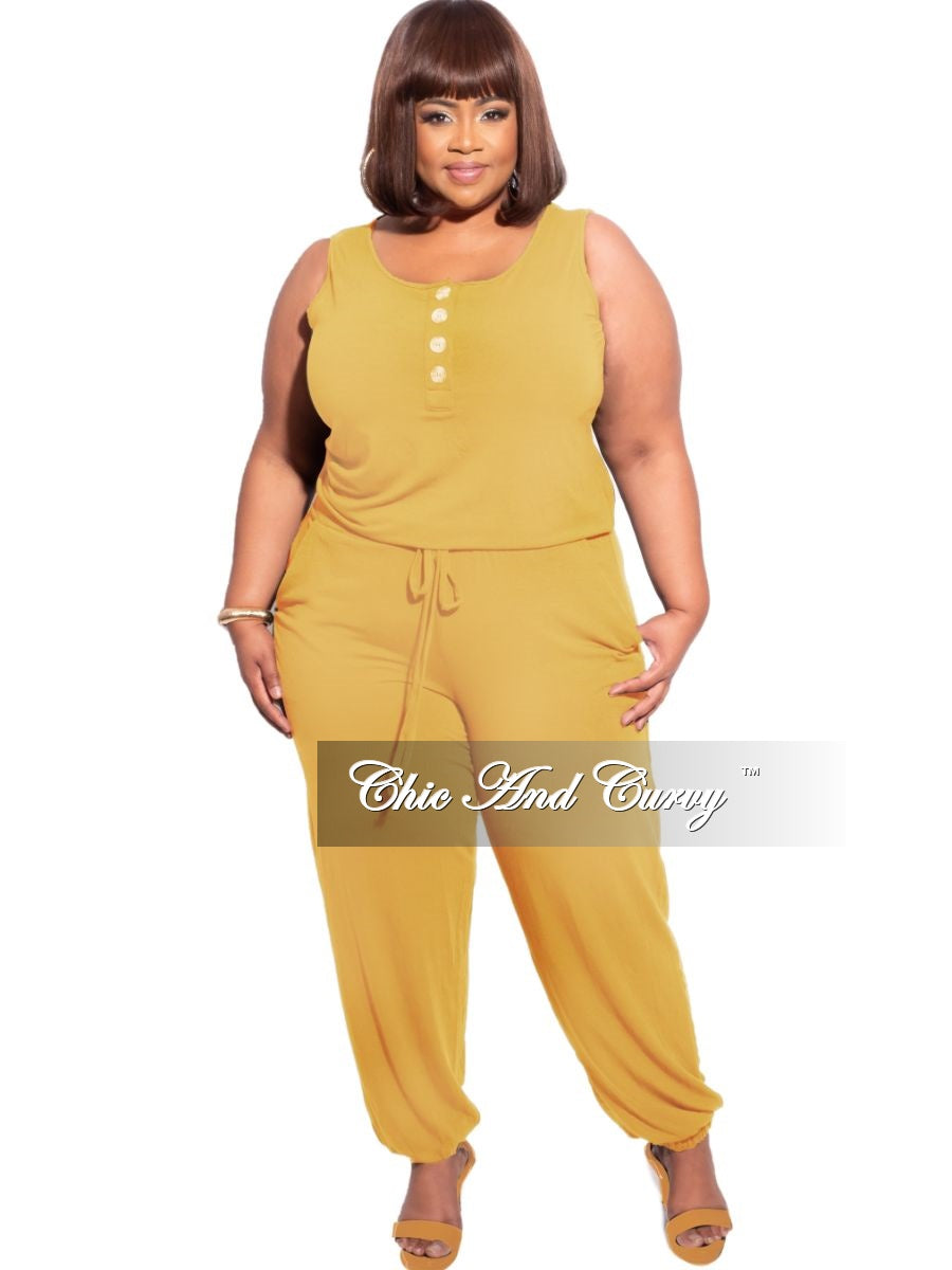New Plus Size Sleeveless Jogger Jumpsuit in Mustard