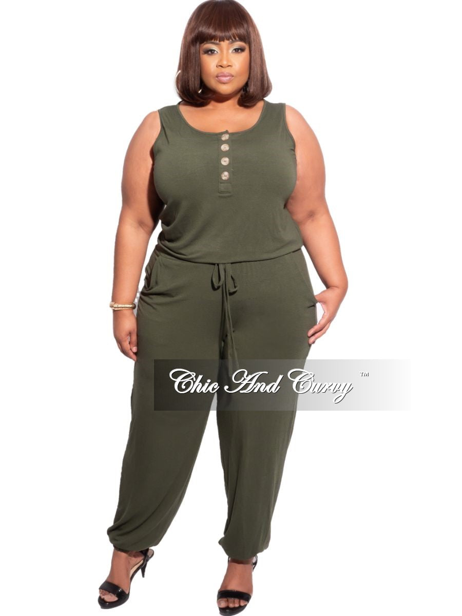 New Plus Size Sleeveless Jogger Jumpsuit in Army Green
