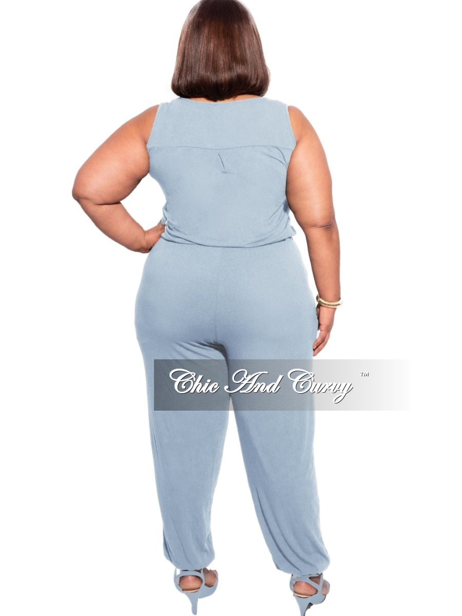 New Plus Size Sleeveless Jogger Jumpsuit in Ash Blue