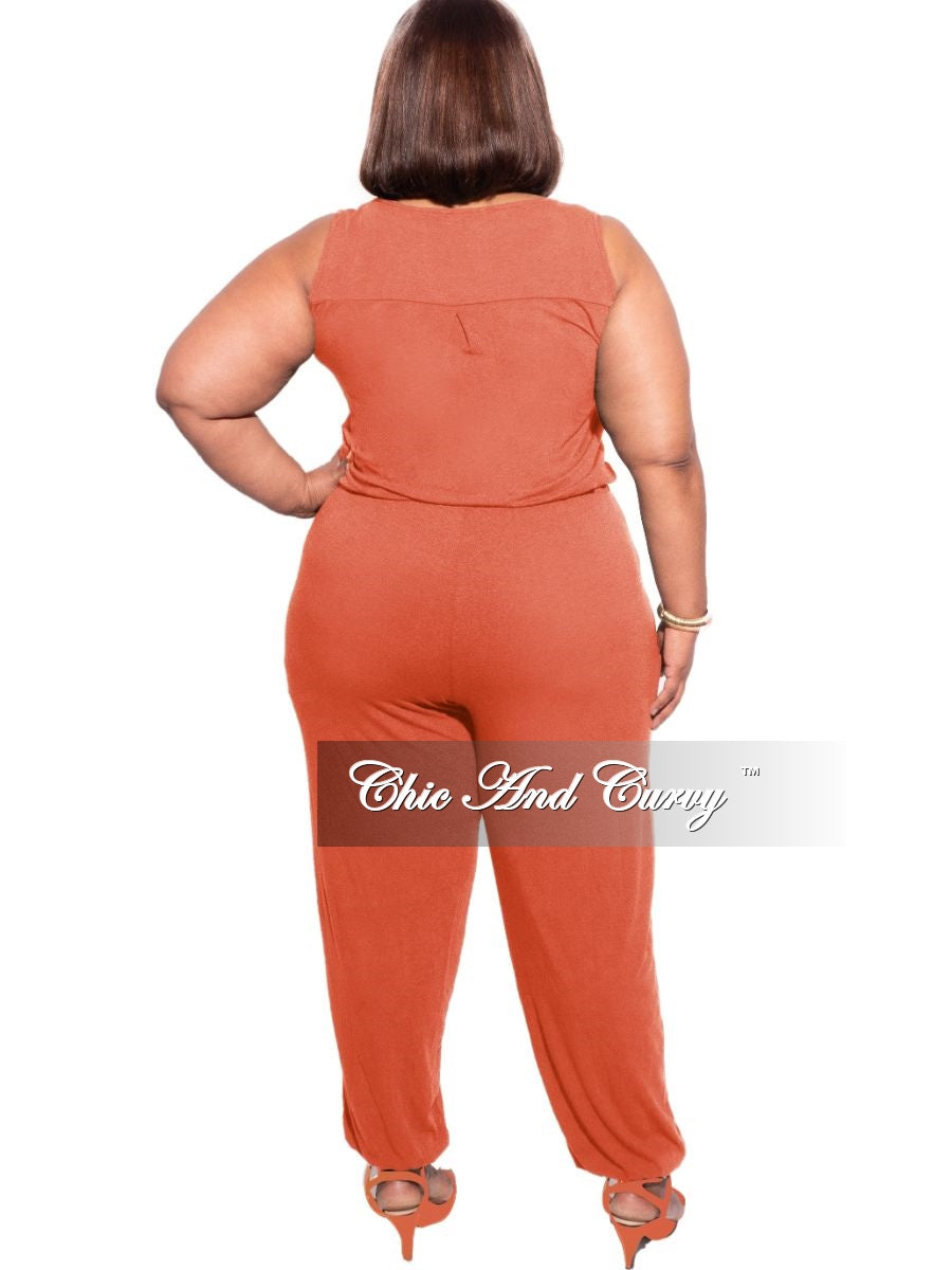 New Plus Size Sleeveless Jogger Jumpsuit in Copper
