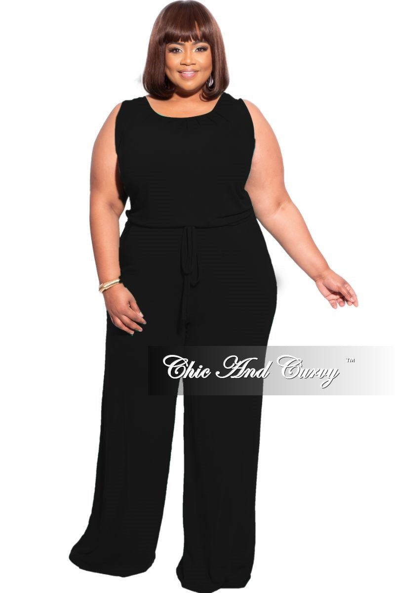 New Plus Size Sleeveless Pocket Jumpsuit in Black