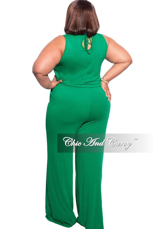 New Plus Size Sleeveless Pocket Jumpsuit in Kelly Green