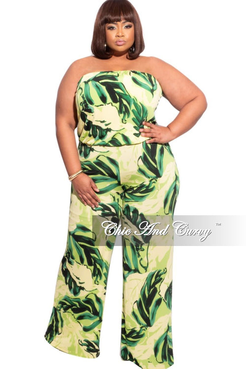 New Plus Size Tube Top Jumpsuit in Green Multicolor Leaf Print