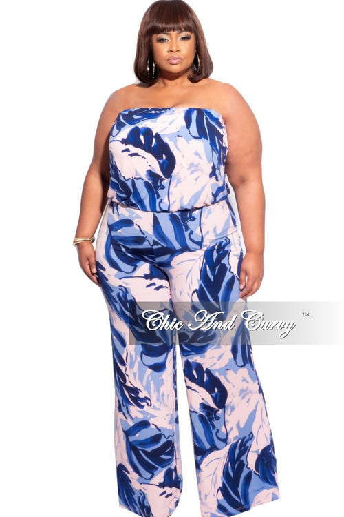 New Plus Size Tube Top Jumpsuit in Blue Multicolor Leaf Print