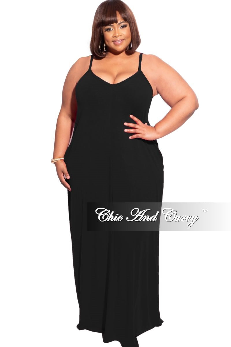 New Plus Size Spaghetti Strap Maxi Dress in Black