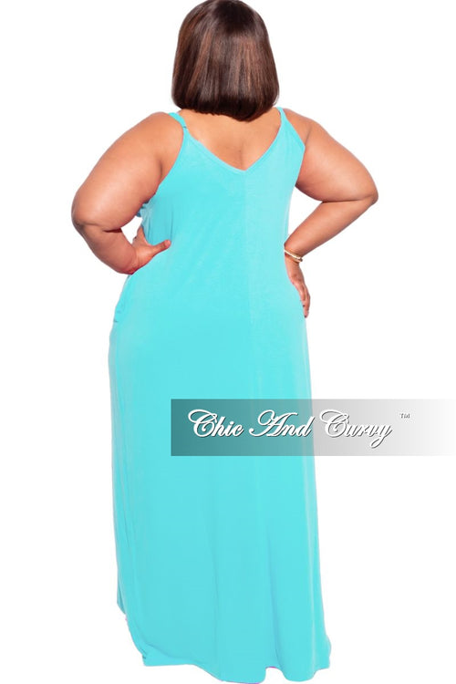 New Plus Size Spaghetti Strap Maxi Dress in Blue Mint