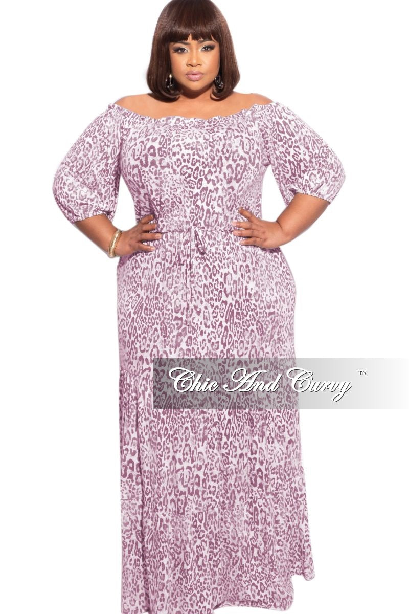 Final Sale Plus Size Jersey Off the Shoulder Maxi Dress in Pink Animal Print